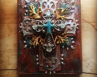 Cross crosses religious art christian art one of a kind assemblage mixed media found objects hand painted wall cross