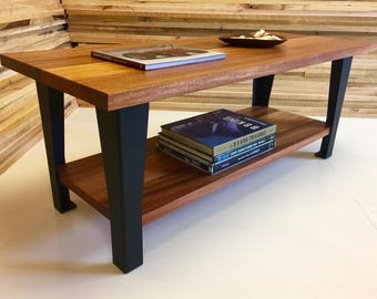 QUICK SHIP- Hudson coffee table featuring African mahogany with steel legs. Industrial coffee table. Contemporary coffee table.