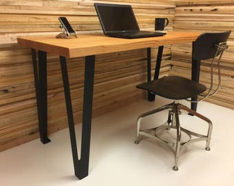 QUICK SHIP-Wicked cool wood and steel desk featuring vertical grain fir top with contemporary legs. Industrial desk. Contemporary desk.