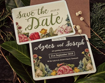 Botanical Floral Save The Date Wedding Cards
