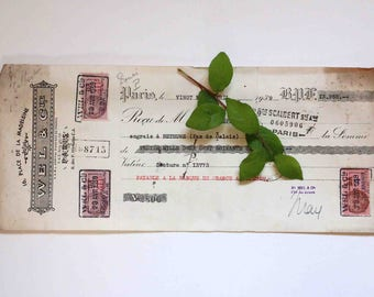 Large old french  receipt  1939