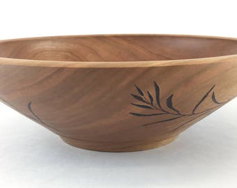 Cherry Wood Salad Bowl-Hand Turned Wooden, Fruit Bowl