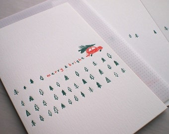 Letterpress Christmas Cards - Red Car Pine Tree