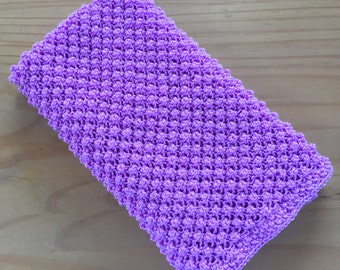 Sparkly Hand Knitted Baby Blanket ~ Lilac