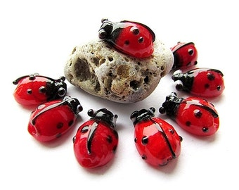 Ladybug Beads Red Glass Beads 10 x 15 mm Ladybird Beads Lampwork Glass Beads Insect Beads Jewelry Supplies (4)