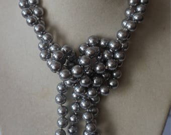 Silver Knotted Glass Bead Necklace