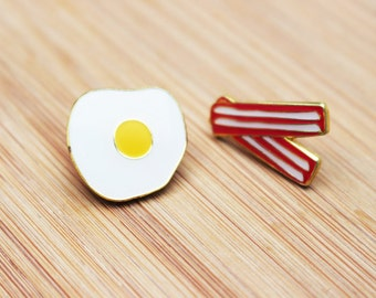 YUM | Breakfast Bacon & Eggs Enamel Lapel Pins - A Set Of Two