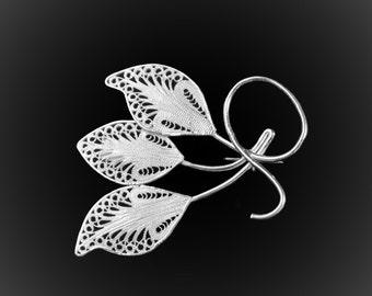 Triple Leaf brooch in silver embroidery