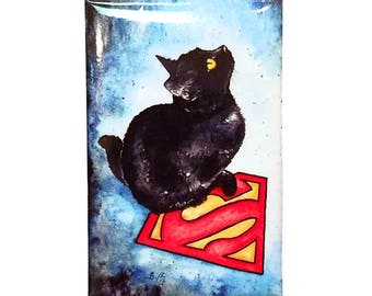 Supercat Magnet: Watercolour DC Black Cat