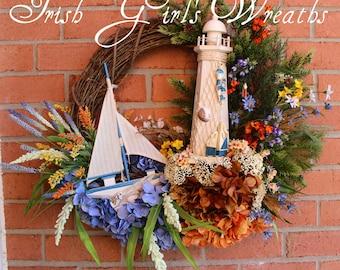 Summer Wreath, New England Lighthouse Wreath, Sailboat Wreath, Year Round Wreath, Coastal Wreath, Lighthouse Decor, Fall Coastal Wreath