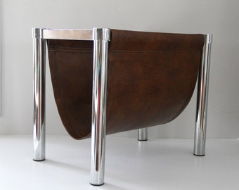 Vintage Mid Century Milo Baughman Style Magazine Rack Chrome Legs Faux Leather Office Waiting Room Living Room Decor