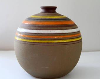 Vintage Rosenthal Netter Bitossi Italy Mid Century Vase Ceramic Aldo Londi Stripes Orange Yellow Cocoa MCM Pottery Globe Shape