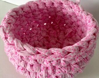 Handmade Basket - Crochet - Baby Girl Shower Gift - Organizer for Girl's Room - Gift Basket Idea - Fabric Bowl - Yarn Holder - Organizer