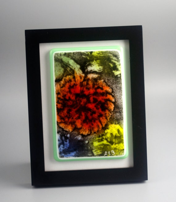 Mum's the Word Fused Glass Framed Original One-of-a-Kind Art