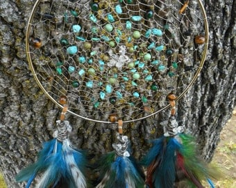 Life Stone Tribal Hippie Bohemian 6 Inch Dream Catcher by The Emerald Lotus