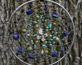"""Scorpio Sign Astrological Hand Woven Silver 5"""" Bohemian Dream Catcher by The Emerald Lotus"""