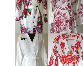 White Bridal Robes Bride and Bridesmaids Robes Bridal Party Gift Mismatch Robes