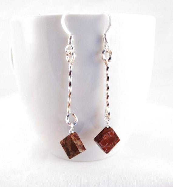 Earrings brecciated jasper diamonds with sterling silver twisted connector on surgical steel earring findings