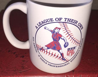 A League of Their Own Girls Professional Baseball vintage coffee cup mug