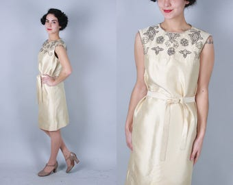 1960s Champagne Toast dress | vintage 60s shift dress with beaded yoke and self belt | small