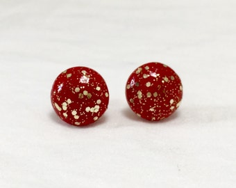 Red and Gold Earrings / Holiday Stud Earrings / Red Stud Earrings / Round Red Earrings / Glitter Earrings / Minimalist Studs / Party Jewelry