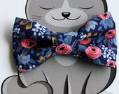 Floral Print Bow Tie for Cat, Dog Bow Tie, Slide on Collar Accessory, Handmade in Canada, Spring, Summer, Flowers, Gift for Animal Lover