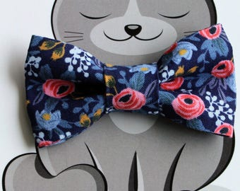 Floral Print Bow Tie for Cat, Dog Bow Tie, Slide on Collar Accessory, Cat Costume, Pet Bowtie, Handmade in Canada, Spring, Summer, Flowers