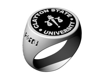 Contemporary Style College Class Ring with Black Enamel