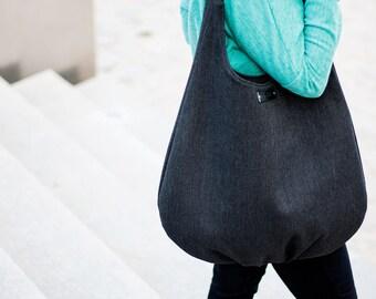 All black packable hobo bag, shoulder bag, comfortable bag, black long hobo bag, slouch large bag, handle of genuine leather, flexibility