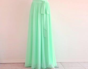 Mint Green Bridesmaid Skirt. Long Evening Skirt. Mint Green Maxi Skirt. Chiffon Floor Length Skirt.