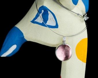 Light rose pendant, statement pendant, christmas gift, boho pendant, xmas gift, silver pendant, cabochon, hand made, glass pendant, pink