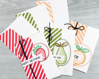 """Stampin' Up! Fresh Fruit Notecards (3.5"""" x 5"""") Thank You, Birthday, Thinking of You- Strawberry, Pear, and Peach"""