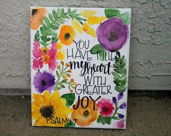 Watercolor Fall Floral Bible Verse Painting // Psalm 4:7 // purple yellow orange flowers // 8 x 10 inches // MADE TO ORDER