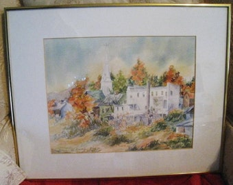 Vermont Fall Village Scene -  Connie van Gerbig Watercolor - Church - Barns