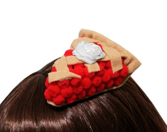 Sweet Cherry Pie Slice Hair Clip or Headband - Made to Order