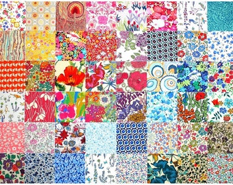 """Liberty Fabric 48 Mini Charm Squares 2.5"""" Bundle Patchwork Quilting Floral Bright Rainbow Colours Liberty of London Tana Lawn"""