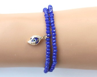Evil eye bracelet, sapphire bracelet, christmas gift, best friend birthday gift, royal blue bracelet, gift for her