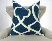 Navy & Green Pillow Cover -MANY SIZES- blue lime white cushion euro sham decorative throw decorative trellis Morrow Canal Premier Prints