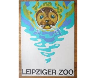Original Zoo / Aquarium Advertising Poster- Leipzig (GDR/East Germany) 1970 - Zieger - Sea lion design