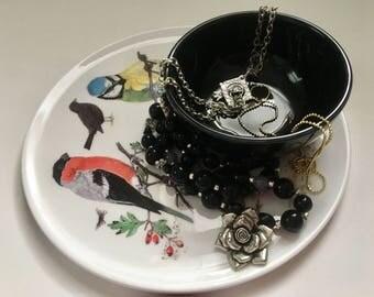 Bird Trinket Dish, Repurposed Jewelry Holder, Upcycled Tiered Candy Dish, Recycled Dish Bird Feeder, Potpourri Holder, Ceramic Dresser Tray