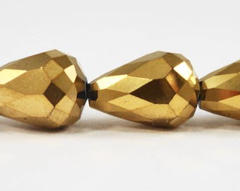"""Gold Crystal Teardrop Beads 14x10mm (10x14mm) Metallic Gold Crystal Beads, Chinese Crystal Glass Drop Beads on a 5 3/4"""" Strand with 10 Beads"""