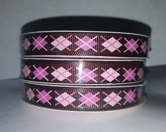 Pink and Brown Argyle Ribbon