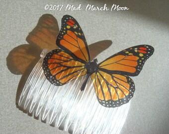 Monarch Butterfly Comb, transparent rich colour, handmade hair accessory single hair piece