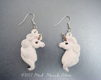 Unicorn Earrings, 'classic white', made from air dry clay, super light, ear hook, clip on and latch back available