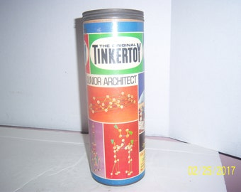 1960's Tinker Toys Evanton, Ill Junior Architect Building Eroctor Set