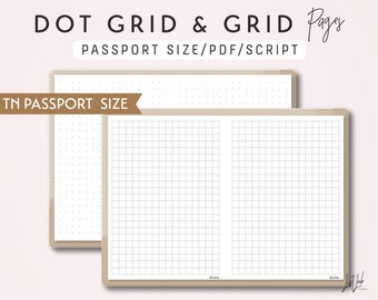 Passport Size Dot Grid and Grid - Printable Traveler's Notebook Insert - Script Theme