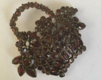 Vintage jewelry antique czech garnet flower pot 1 1/2 inches open back brooch antique gol original