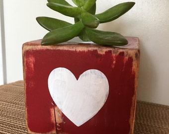 Succulent planter wood cube plant red with white heart rustic