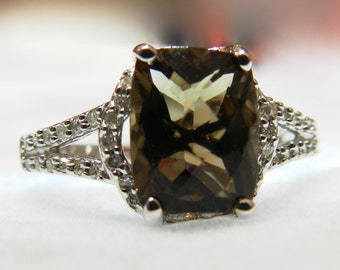 Vintage Engagement Ring Chocolate Brown Topaz Diamond Ring 5.5 Ct Cocktail Ring Alternative Engagement Ring, November Birthday