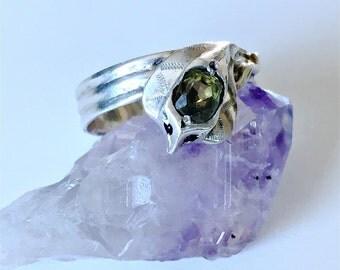 Vintage sterling silver coiled cobra snake ring gem set large size 10.5 mens wedding ring